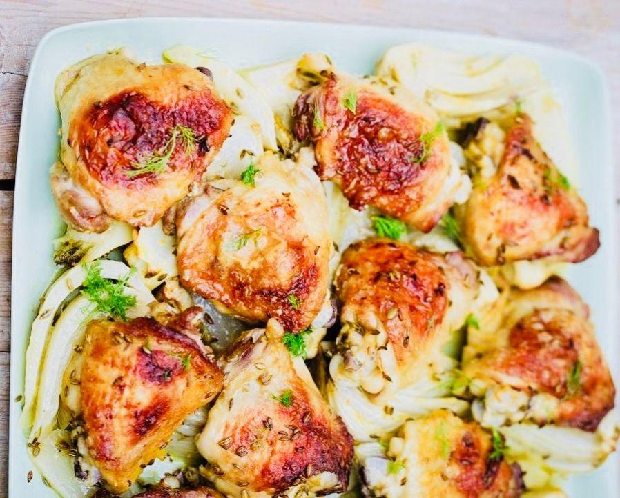 Jak zhubnout vmenopauze - Pečené kuře sfenyklem apomerančem_